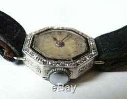 Superbe Montre femme PLATINE + diamant mécanique ART DECO platinum watch diamond