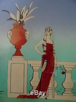 Superbe Oeuvre Art Deco Mode Femme Encre Et Gouache Signee