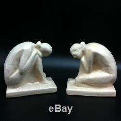Superbe Paire De Serre Livres En Ceramique Craquelee Art Deco Femmes Nue