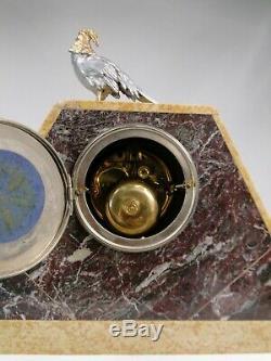 Superbe Pendule Art Deco Balleste Onyx & Fonte D'art Femme Au Faisan No Statue