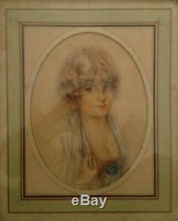 Superbe Portrait De Femme Epoque Art Deco 1930 Pastel Signee Malatier