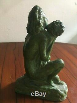 Superbe Sculpture bronze signée Cipriani art déco femme et enfant