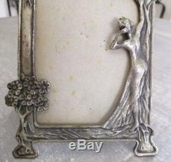 Superbe ancien grand cadre porte photo art déco femme nue 1930 poinçonné