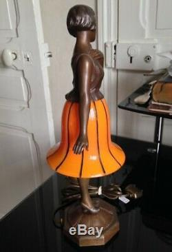 Superbe et rare Lampe Veilleuse femme Danseuse Art déco régule Verrerie Powolny