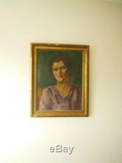 Superbe grand portrait de femme #art déco#. Huile sur toile marouflée