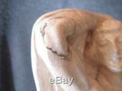 TRES BELLE STATUE FEMME ART DECO faience craquelée signée LOPEZ hauteur 43 cm