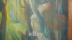 Tableau Allemand huile sur toile art déco scene nue femme et homme signé HIRTH