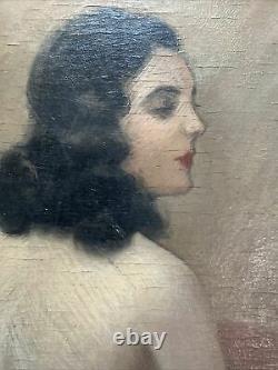 Tableau Art Deco Modèle Femme Nue Peinture signée Jean Jannel 1894