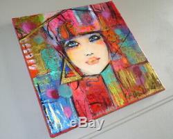 Tableau Artiste-peintre Marienkoff-Portrait de femme 30 x 30 cm