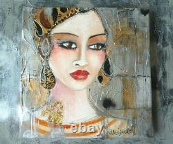Tableau Artiste-peintre Marienkoff-Portrait de femme bohème-30 x 30 cm