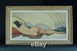 Tableau Erotique Art Deco Jeune Femme Nue à l'alcôve Georges Duc pin-up Domergue