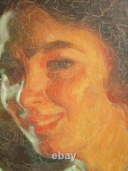 Tableau Huile Sur Toile Ancien Pierre Bonnaud Femme Au Collier Art Deco Portrait