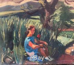 Tableau Huile Toile Jeune Femme Paysage Arbre Jean AUJAME (1905-1965)