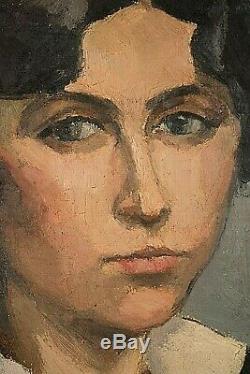 Tableau ancien HST portrait de femme garçonne signé Diener Art Déco 1930