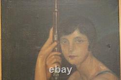 Tableau ancien HST portrait de femme tenant un fusil signé