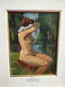 Tableau ancien portrait de femme Nu signé époque Art Déco 1930