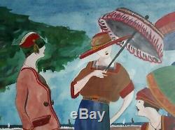 Tableau aquarelle femmes aux ombrelles 1930 Art Déco MARTINE