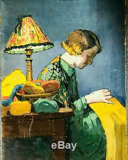 Tableau, femme dans son intérieur Art Déco, scène intimiste, pictures women styl