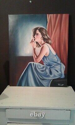 Tableau huile /toile jeune femme pensive à la cigarette signé Privat. XXème