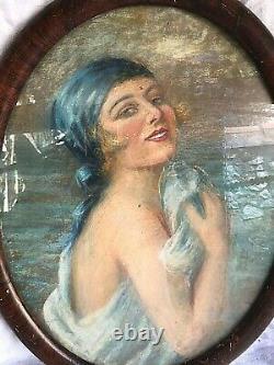 Tableau pastel femme 1900 art deco