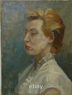 Tableau peinture portrait de femme au chemisier blanc huile sur toile, vintage