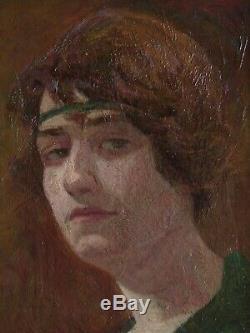 Tableau portrait de femme art déco année folle 1920/1930 école de PARIS