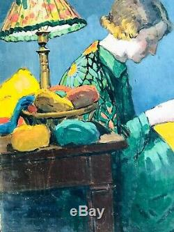 Tableau portrait de femme dans son intérieur vers 1920, style ART DECO