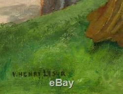 Tableau scène galante Henry Victor LESUR femmes élégantes parc château paysage