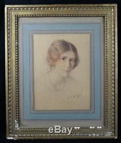 Technique mixte Portrait de femme 1925 signé Schultz Allemagne Alsace Art deco