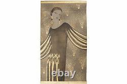 Toile peinte, Portrait de femme de style Art Déco, travail contemporain