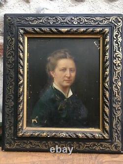Très Belle peinture Sur PHoto huile sur panneau Portrait Femme XIX Monsabert
