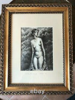 Très joli Dessin femme nue Art Deco 1931 Edith Desternes fusain