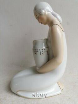 Veilleuse Lampe Brule Parfums En Porcelaine Art Deco Femme Aladin France 1930