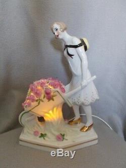 Veilleuse brûle parfum art deco 1930 sculpture femme en porcelaine statue lampe