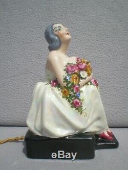 Veilleuse brûle parfum femme art deco 1920 ERELBE vintage perfume lamp sculpture