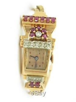 Vintage 14k Solide or Rose Diamant & Rubis Art Déco Femmes de Valeur