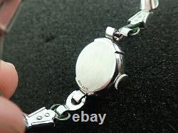 Vintage Femmes Elgin 14K Blanc Solide Or Montre-Bracelet Art Déco Course